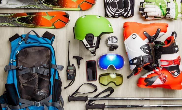 Ausstattung zum Skifahren