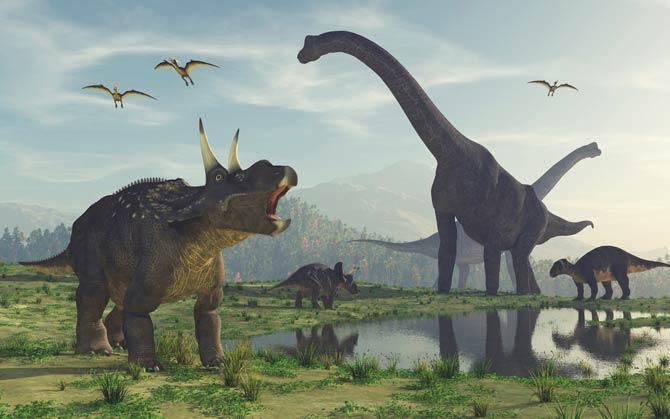 Gruppe von Dinosauriern