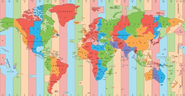 Übersicht der Uhrzeiten und Zeitzonen aller Länder der Welt