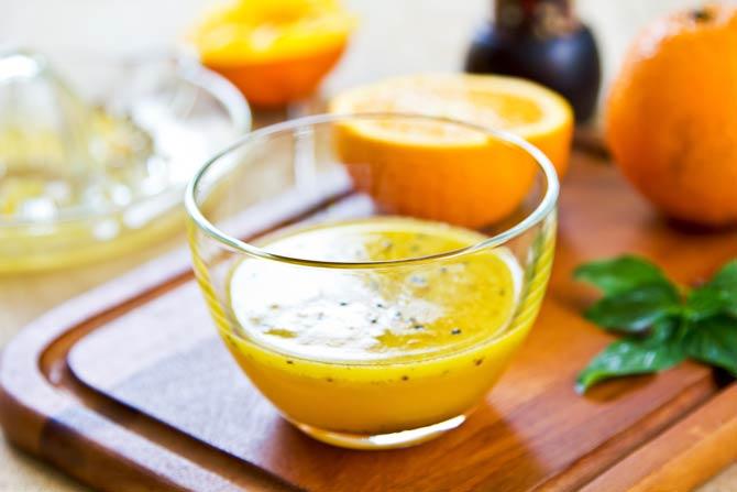 Mischung aus Essig und Orangensaft