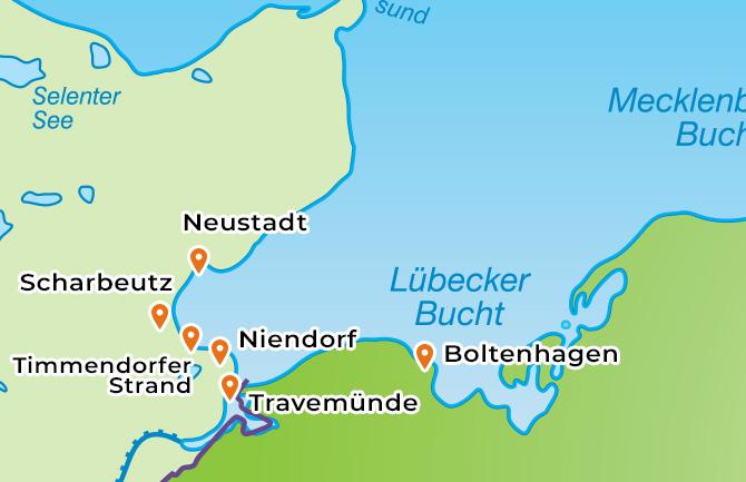 Karte der Ostseebäder an der Lübecker Bucht