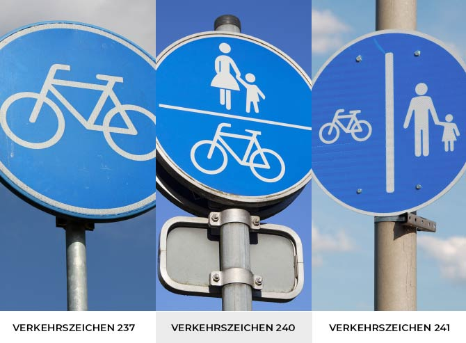 Radweg Verkehrszeichen