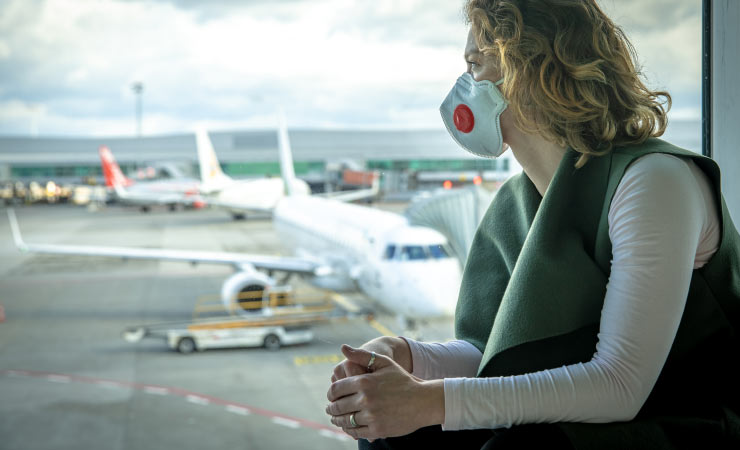 Reisende - Coronavirus Rechte Reisende