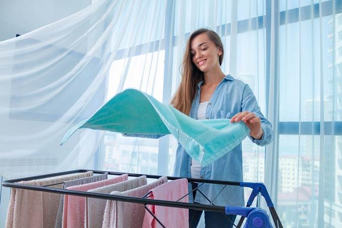 Wäsche aufhängen - Sport im Alltag