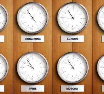 Verschiedene Uhrzeiten und Zeitzonen