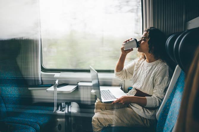 Im Zug können Sie die ganze Zeit über arbeiten